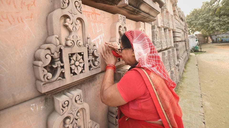 A devotee prays at Ramjanmabhoomi Nyas kaaryashala in Ayodhya.