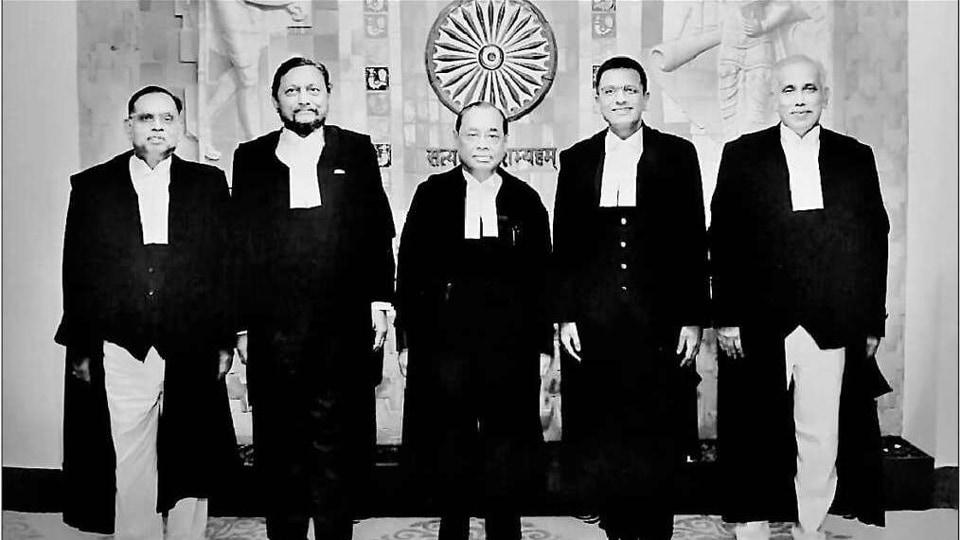 (From Left)Justices Ashok Bhushan, SABobde, Ranjan Gogoi, DYChandrachud and SAbdul Nazeer