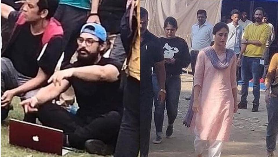 Aamir Khan and Kareena Kapoor filming Laal Singh Chaddha in Chandigarh.