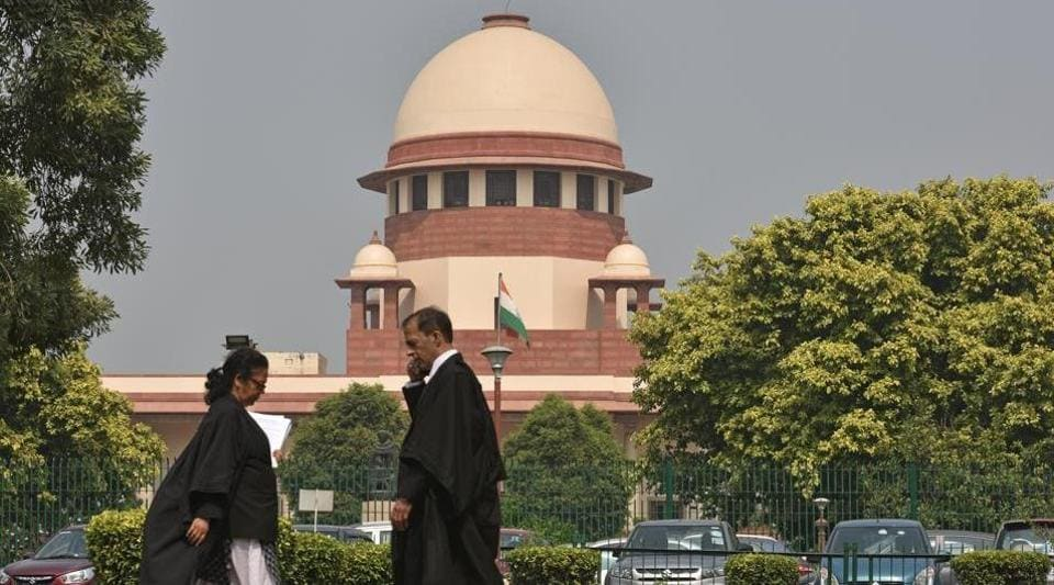 New Delhi, India - Oct. 14, 2019: A view of the Supreme Court of India while a hearing on the Babri Majid – Ram Janmabhoomi case is underway in New Delhi, India, on Monday, October 14, 2019. (Photo by Sanchit Khanna/ Hindustan Times)