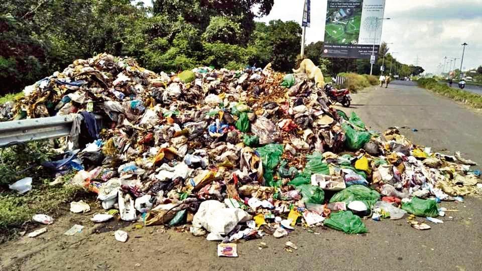 Garbage dumped in Ravet on Sunday.