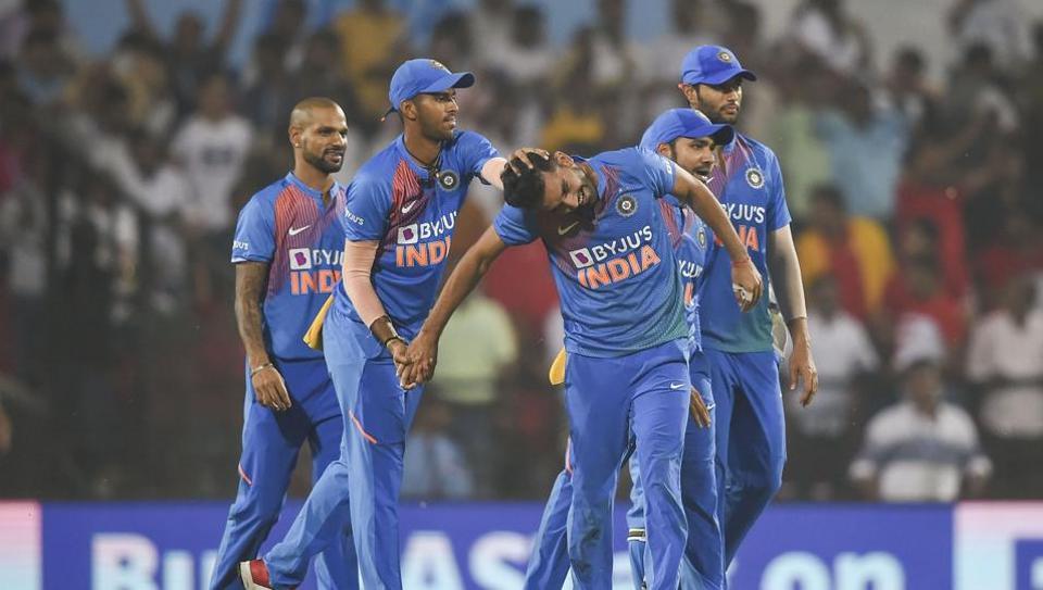 Deepak Chahar celebrates the dismissal of Bangladeshi Aminul Islam during the third T20 match in Nagpur.