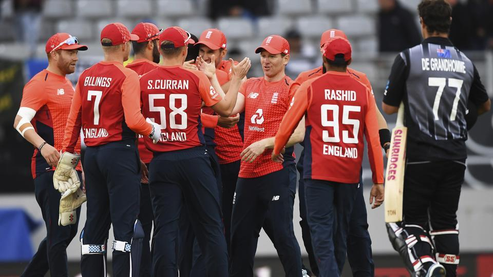 England players celebrate after winning the super over and the match against New Zealand during their T20 cricket match at Eden Park, Auckland, New Zealand, Sunday, Nov. 10, 2019.