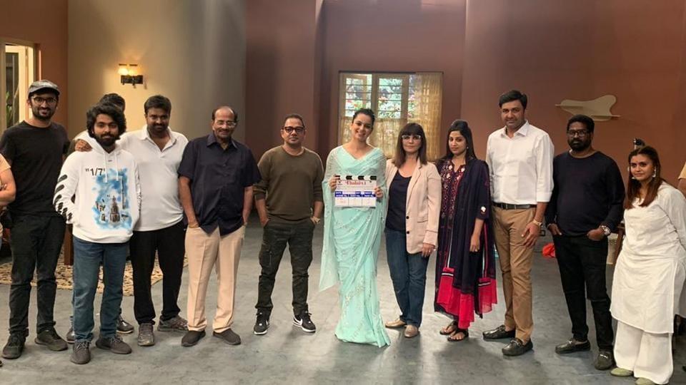 Kangana Ranaut with the team of Thalaivi.