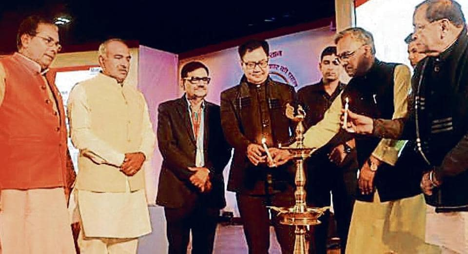 Union minister Kiren Rijiju (centre) and CM Trivendra Rawat (second from right) inaugurate the conference.