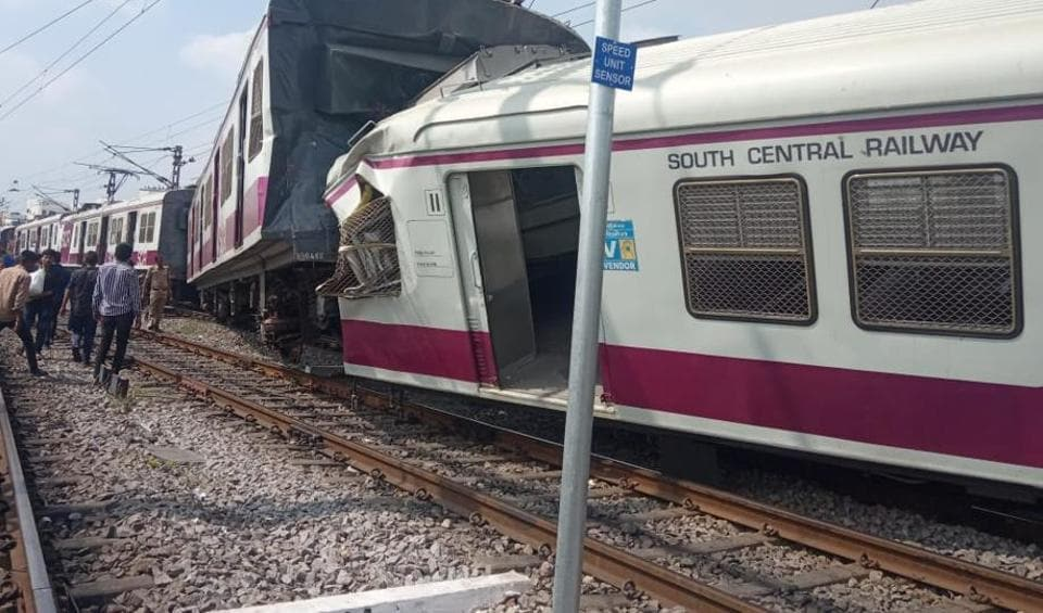 The MMTS train engine got mangled in the accident while its three coaches got derailed and tilted towards the left .