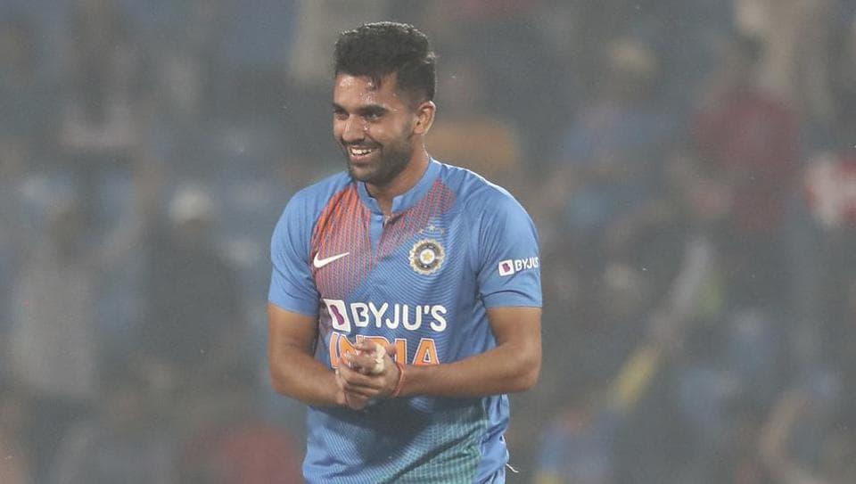 Deepak Chahar celebrate after taking the wicket of Bangladesh's Soumya Sarkar.