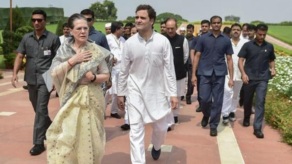 Congress President Sonia Gandhi with party leader Rahul Gandhi.