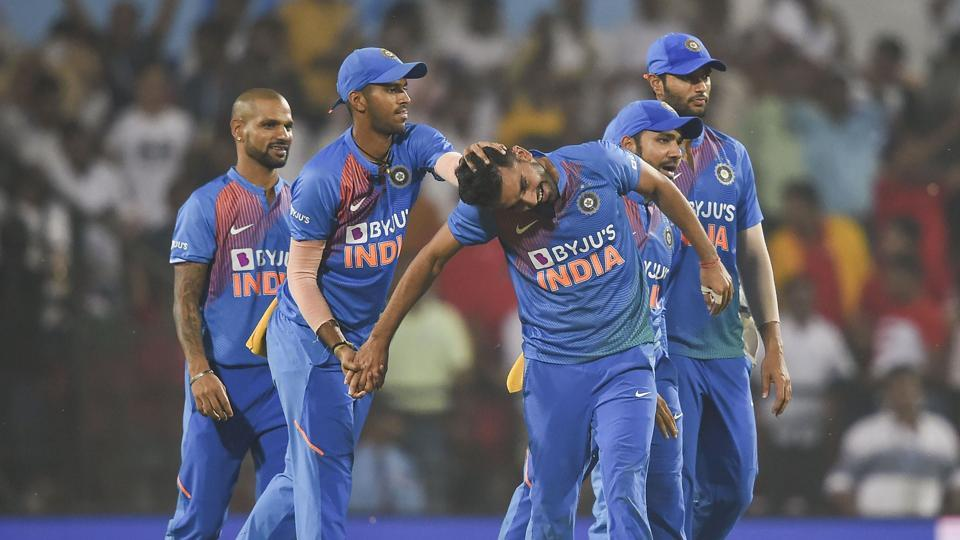 Indian player Deepak Chahar celebrates the dismissal of Bangladeshi Aminul Islam.
