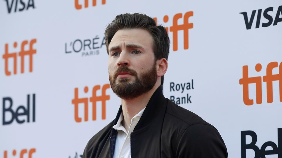 Cast member Chris Evans arrives for the special presentation of Knives Out at the Toronto International Film Festival (TIFF).