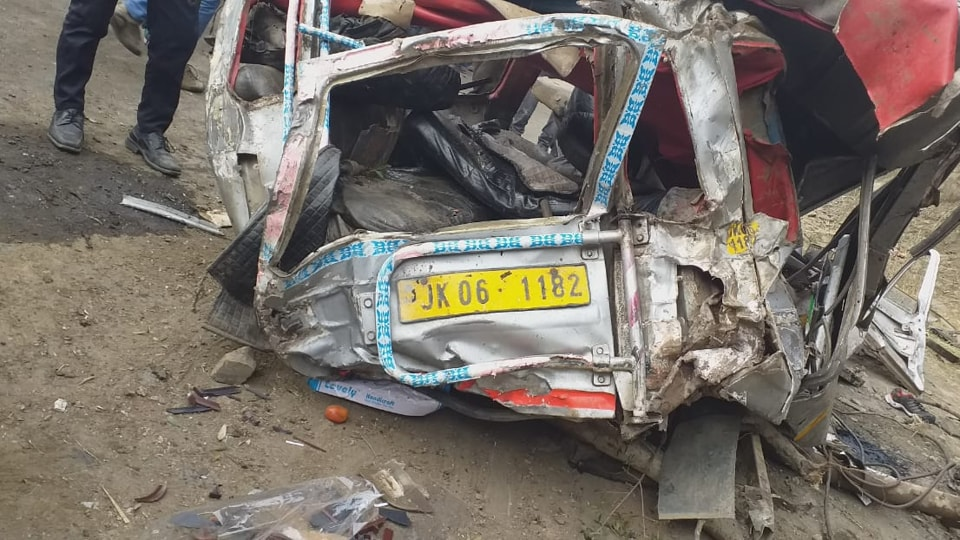 The vehicle with a carrying capacity of 10 rolled 500 feet down on main Batote-Doda highway from a link road around 2.45 pm