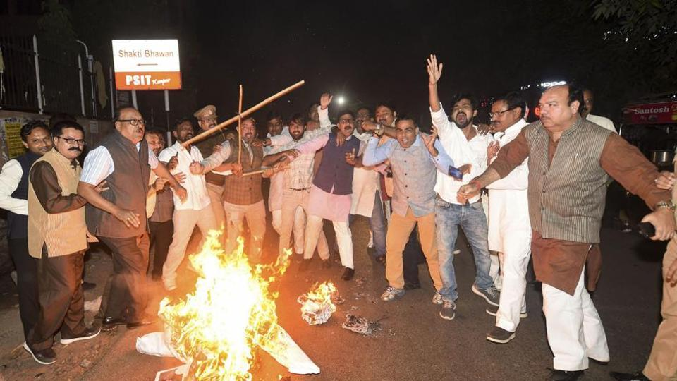 People protest against the alleged UPPCL irregularities in Lucknow on November 4.