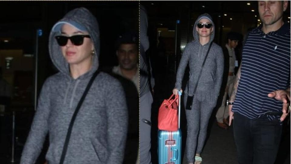 Katy Perry spotted at the Mumbai airport.