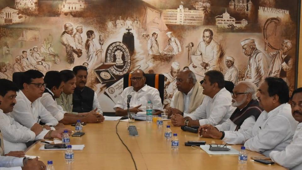 Leaders of NCP and Congress meet at Mumbai's Y B Chavan Centre.