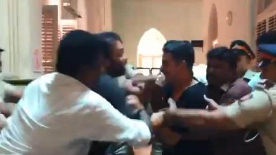 Akshay Kumar and Rohit Shetty in a screengrab from the video.