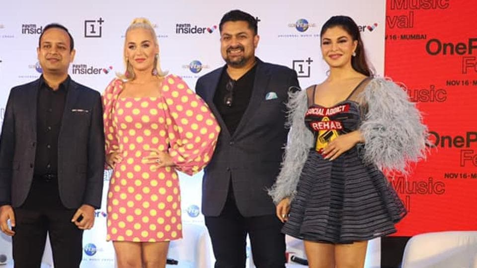 Katy Perry (second from left) with Devraj Sanyal (centre) and Jacqueline Fernandes.