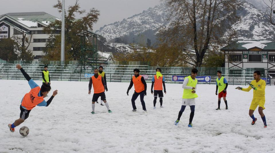 Real Kashmir Football Club players during a practise session ahead of I-League match.