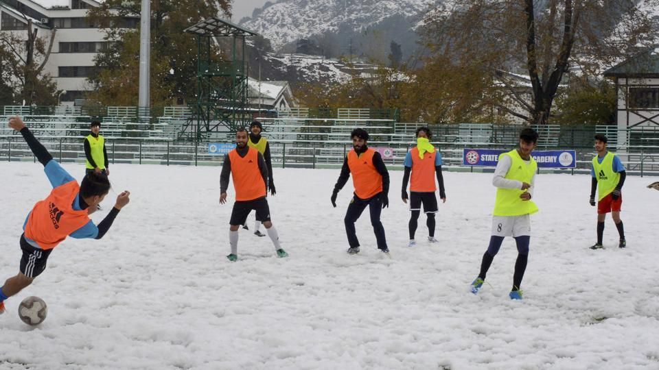 Real Kashmir Football Club (RKFC) players during a practise session.