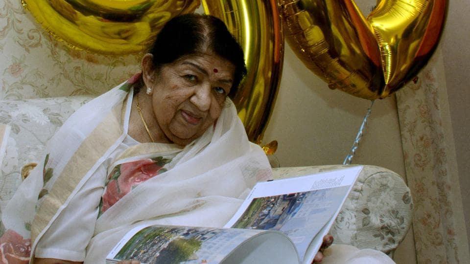 Bharat Ratna Lata Mangeshkar during a book release function at her residence. in Mumbai, Sunday, Sep 29, 2019. (PTI)
