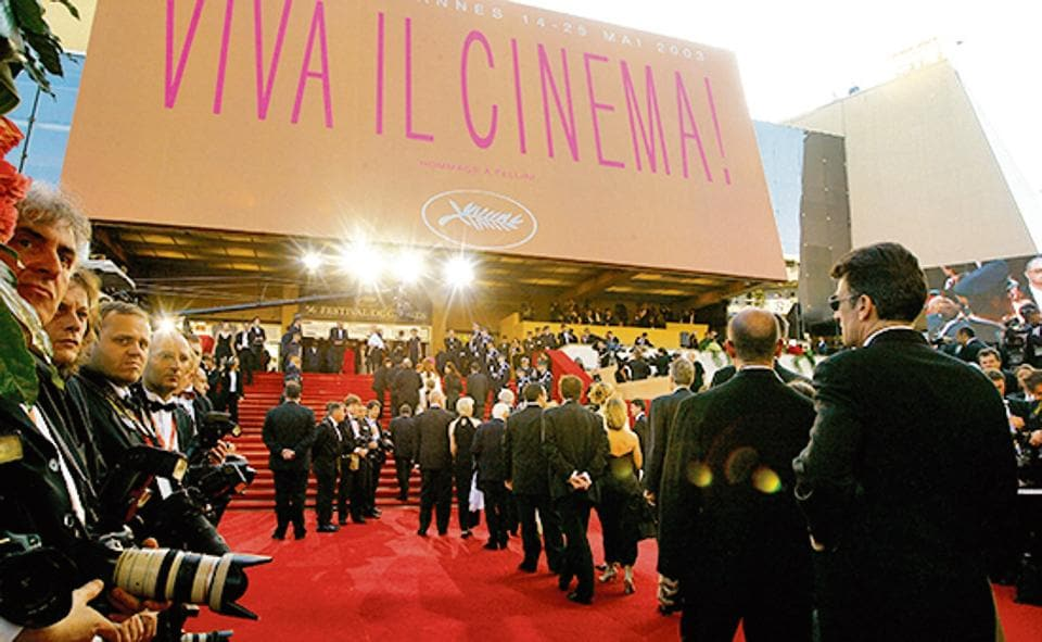 General view of the red carpet opening ceremony of the Cannes Film Festival 2003.
