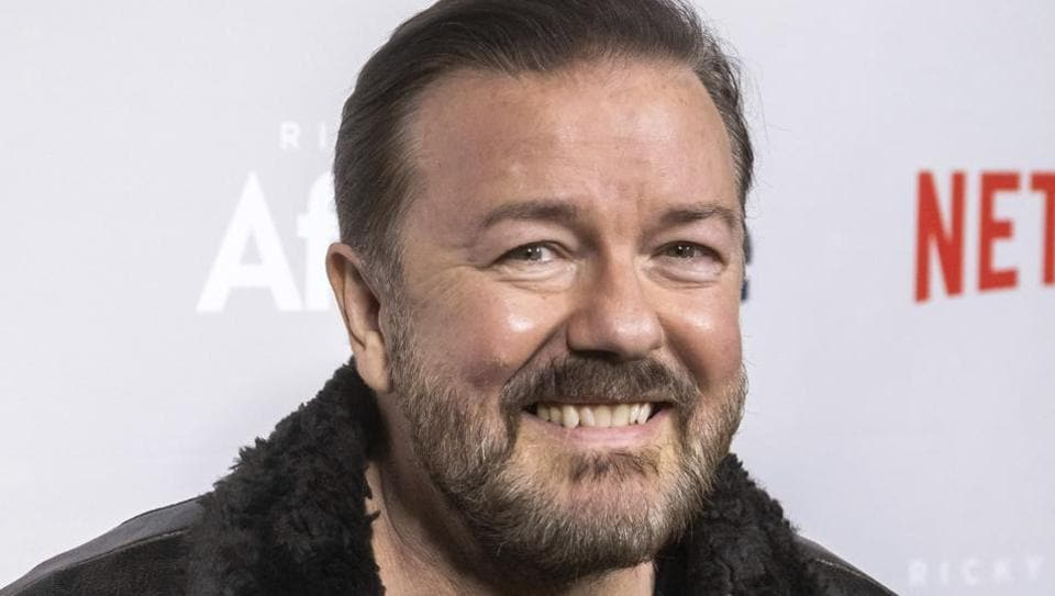 Ricky Gervais attends a screening of Netflix's After Life at the Paley Center for Media in New York. Gervais is returning to host the Golden Globe Awards. Gervais is returning to host the Golden Globe Awards, which will be held at the Beverly Hilton Hotel on Jan. 5, 2020 and aired live on NBC. (Photo by Charles Sykes/Invision/AP, File)