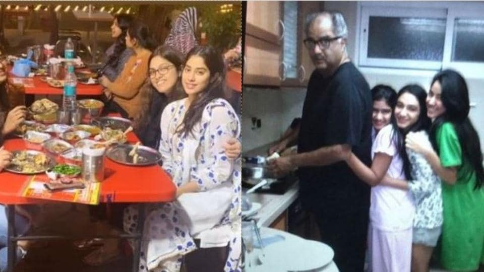 Janhvi Kapoor dining in Punjab (left) and with father Boney Kapoor in a throwback picture (right).