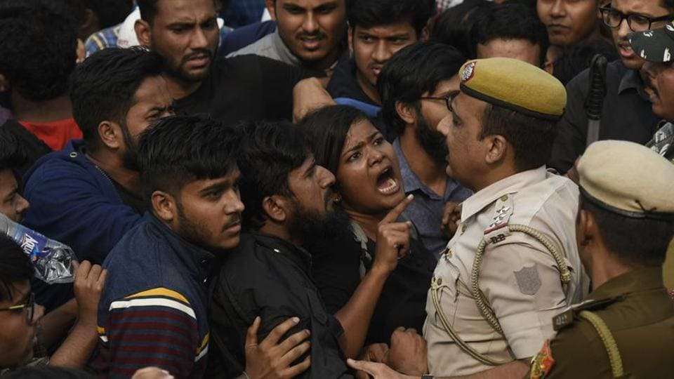 The decisions were taken in the meeting of the executive committee that had to be shifted outside the campus fearing protests by students (Photo by Biplov Bhuyan/ Hindustan Times)