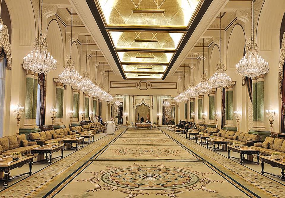 One of the halls at King Saud Guest Palace, restored few years ago, which is used to host visiting foreign dignitaries