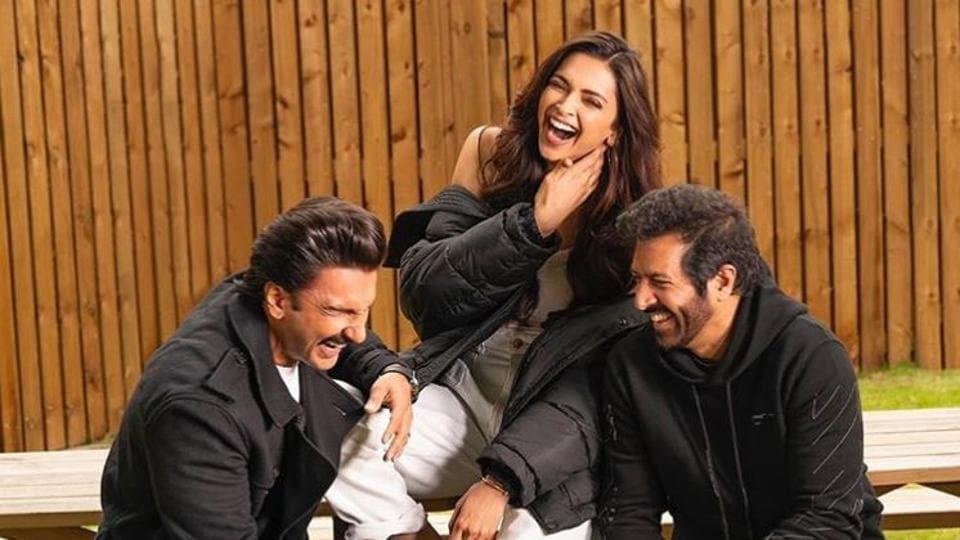 Deepika Padukone with Ranveer Singh and 83 director Kabir Khan.
