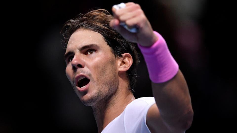 Spain's Rafael Nadal celebrates winning his group stage match against Russia's Daniil Medvedev.
