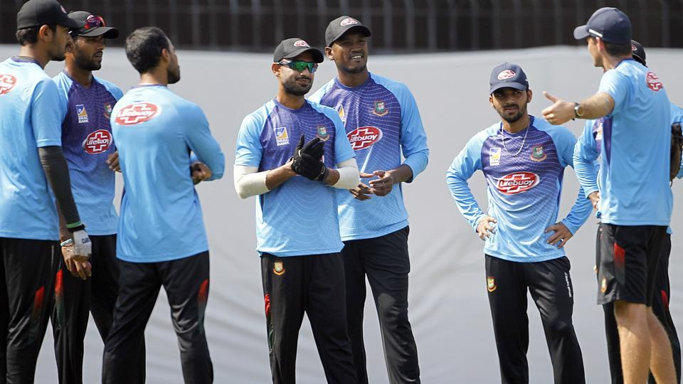 Bangladesh players during a practice session.