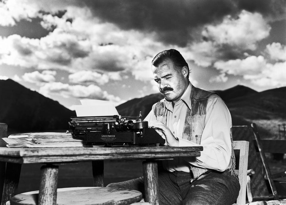 Clean lines, always:Ernest Hemingway in a picture dated 7th October, 1939. He disapproved of this photograph saying, 'I don't work like this.'