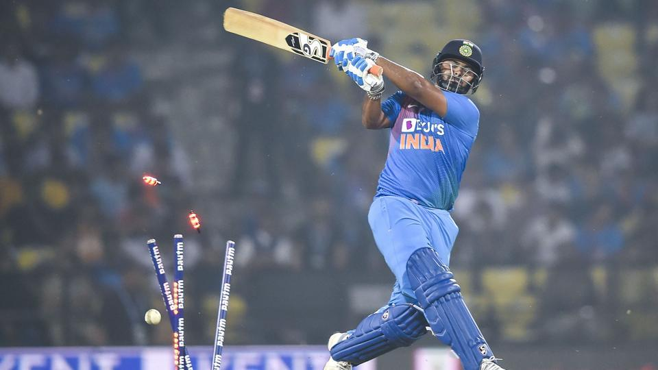 Rishabh Pant gets bowled out during the third T20I.