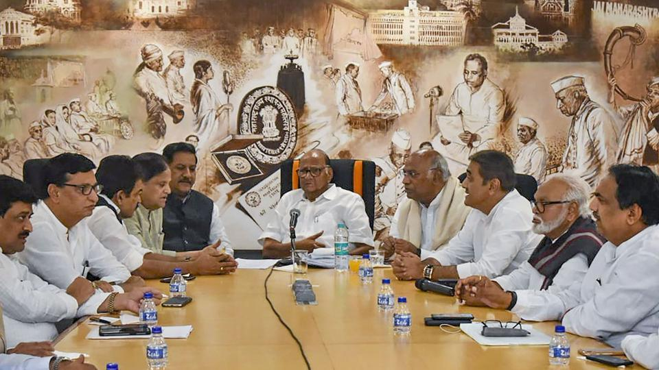 Congress leaders during a meeting with Nationalist Congress Party (NCP) in Mumbai on November 12, 2019. President's Rule was clamped in Maharashtra on Tuesday.
