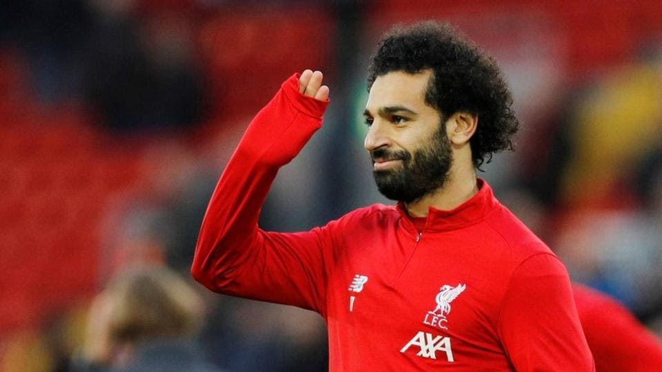 Liverpool's Mohamed Salah during the warm up before the match