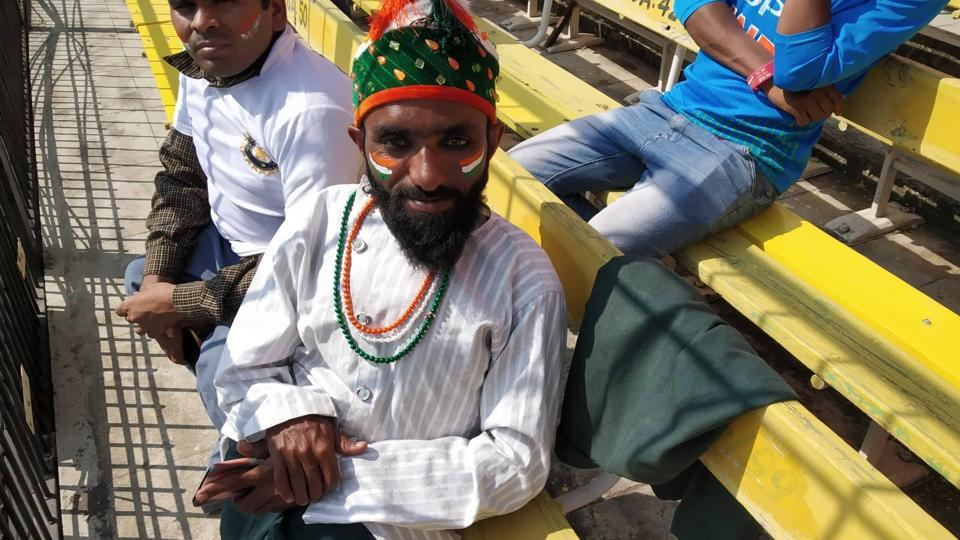 Indian cricket team's superfan Shahzad Ali at the Holkar Stadium in Indore.