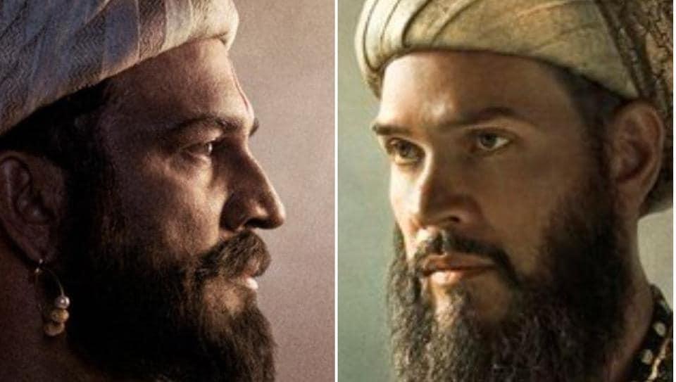Sharad Kelkar as Chhatrapati Shivaji Maharaj and Luke Kenny as Aurangzeb in Tanhaji.