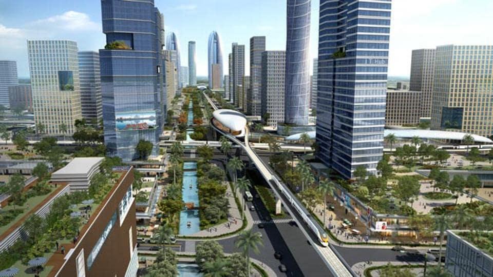 "A computer-generated representative photo of Andhra Pradesh's ""world class"" capital Amaravati. (AP government)"