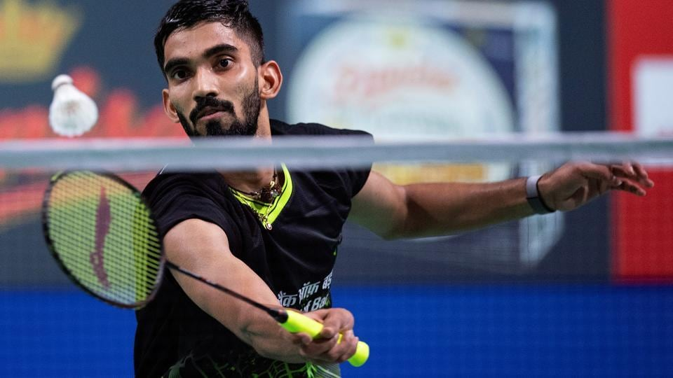 Srikanth Kidambi of India in action in his match.