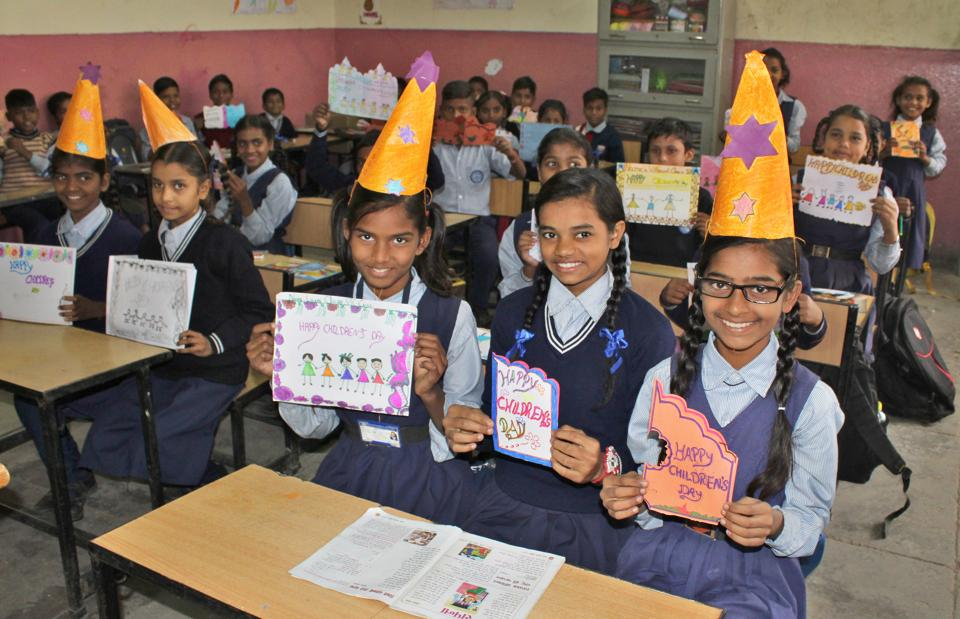 Students all cheers during Children's Day celebrations at Government Model Senior Secondary School in Sector 47, Chandigarh, on Thursday.