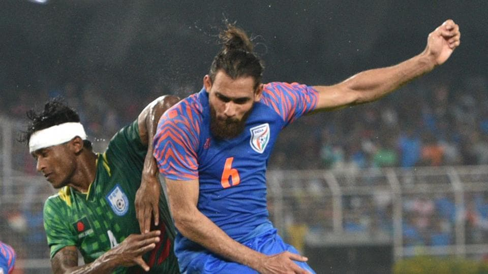 File image of India defender Adil Khan going for a header against Bangladesh.