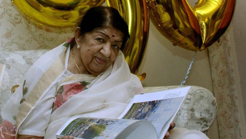 Bharat Ratna Lata Mangeshkar attends a book release function in Mumbai.