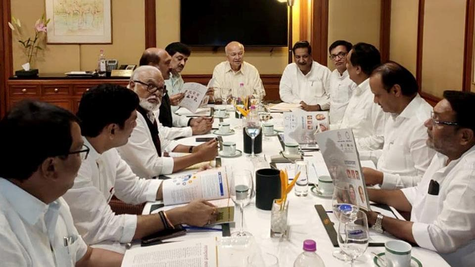 Senior leaders of NCP and Congress during a meeting to discuss the Common Minimum Program in Mumbai on Wednesday, November 13, 2019.