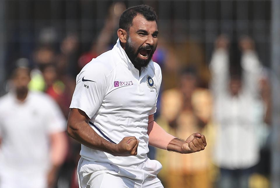 India's Mohammed Shami celebrates after taking a wicket. (AP)