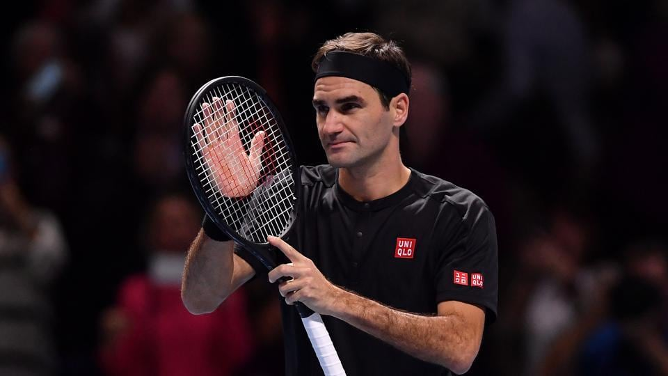 Roger Federer of Switzerland celebrates victory after his singles match against Matteo Berrettini of Italy during Day Three of the Nitto ATP World Tour Finals at The O2 Arena on November 12, 2019 in London, England.