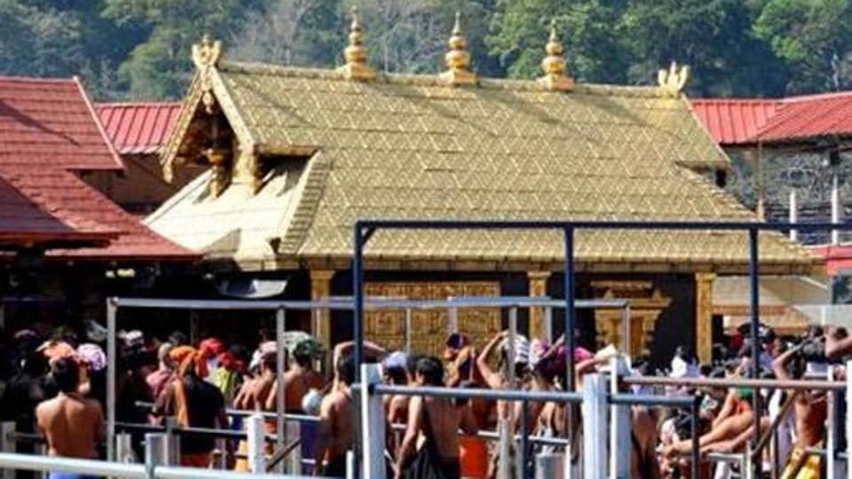A view of pilgrims at the Sabarimala Sannidhanam or the main temple complex in Pathanamthitta district, Kerala.