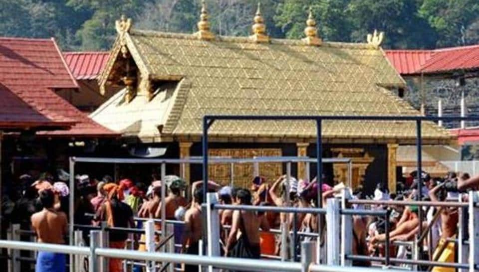 A view of pilgrims at the Sabarimala Sannidhanam or the main temple complex