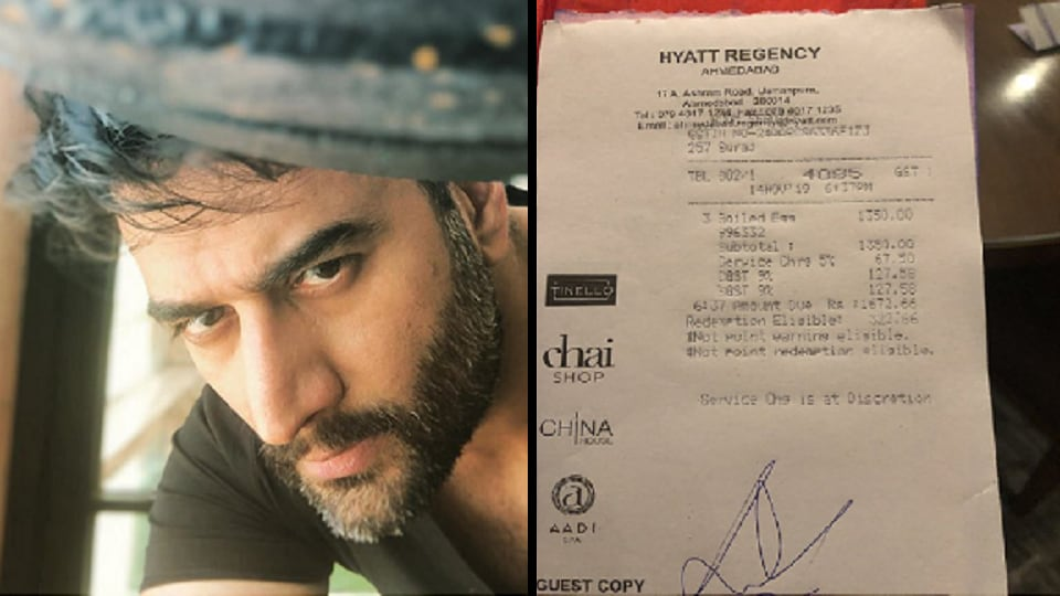 The music composer tweeted a photo of a receipt which shows what he was billed for 3 eggs at a hotel for Rs 1672,