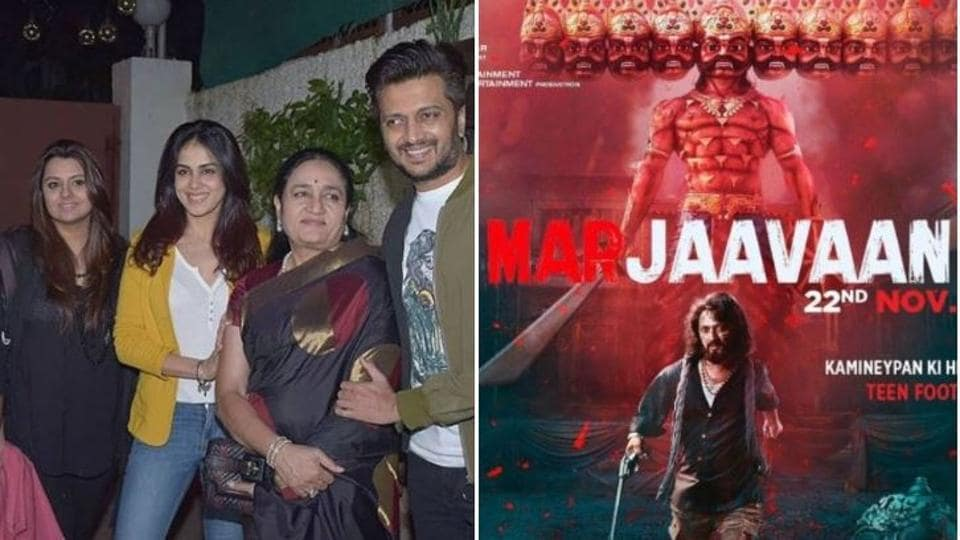Genelia D'Souza with husband Riteish Deshmukh and family at Marjaavaan screening.