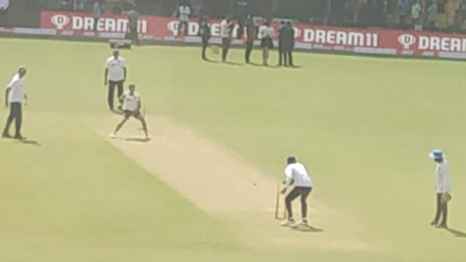 Kuldeep Yadav bowls during lunch on Day 2 at Indore